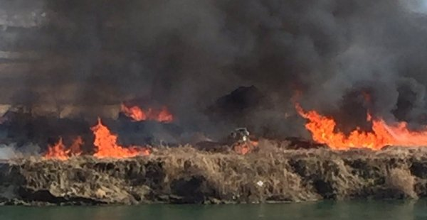 ラジコンヘリ 墜落 河川敷 火災に関連した画像-01
