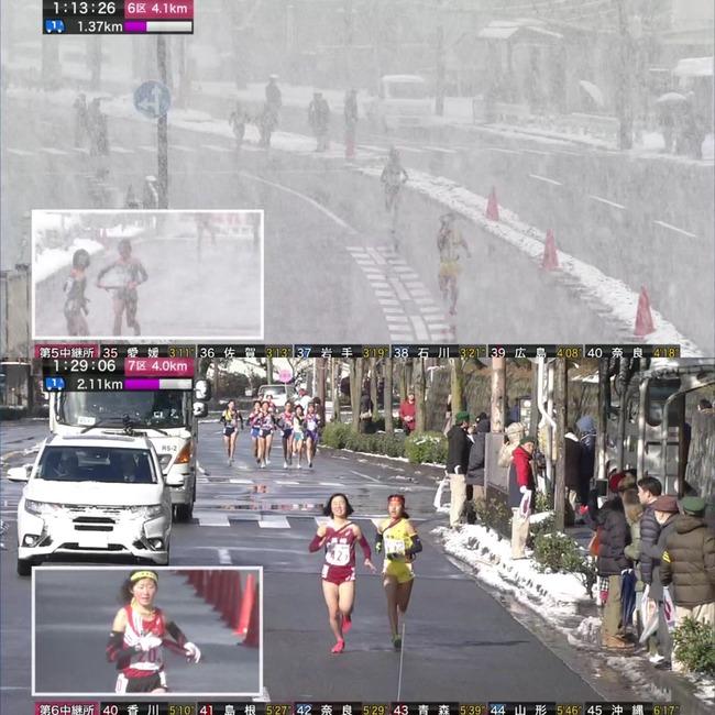 全国女子駅伝 雪 大雪 NHKに関連した画像-10