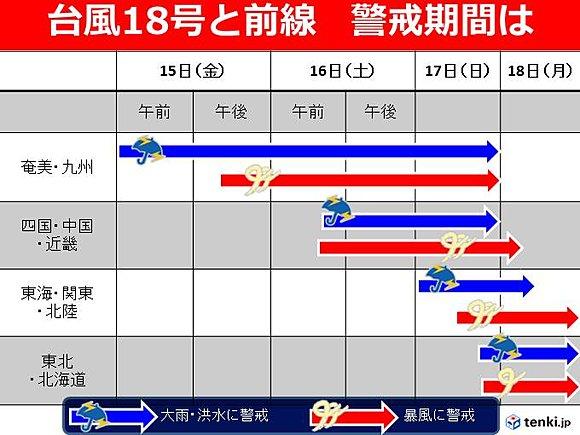 台風 台風18号 日本縦断 ツアー スケジュール 連休に関連した画像-03