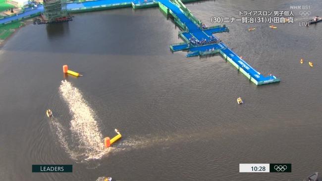 東京五輪 トライアスロン スタート ボート 嘔吐 汚水に関連した画像-08