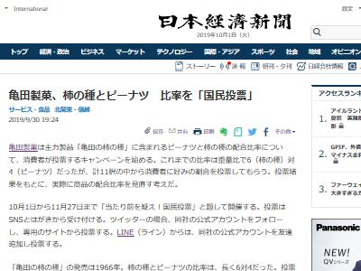 亀田製菓 柿の種 配合比率 国民投票 選挙に関連した画像-02
