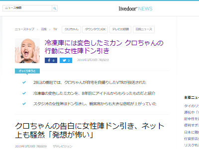 クロちゃん 安田大サーカス アイドル みかん 冷蔵庫に関連した画像-02