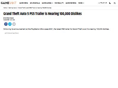 PS5版GTA5トレーラー低評価に関連した画像-02