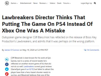 ゲーム開発者 PS4 ソニー LawBreakers 後悔 に関連した画像-02