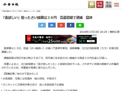 さい銭箱 窃盗 30円 富津市更和 現行犯逮捕に関連した画像-02