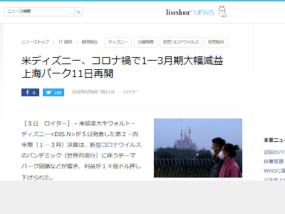 ディズニー コロナ禍 14億円 上海 中国に関連した画像-02