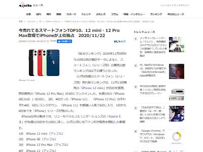 iPhone12mini発売週首位に関連した画像-02