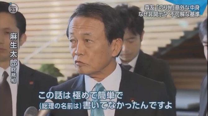 麻生太郎 朝日新聞 森友学園 素直に言えやに関連した画像-02
