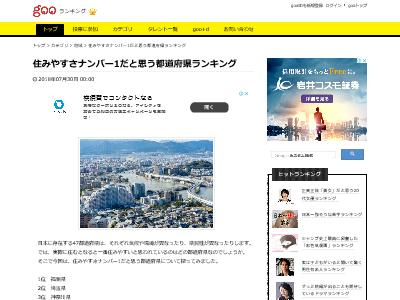 都道府県 ランキング 住みやすさ 福岡県 埼玉県 神奈川県に関連した画像-02