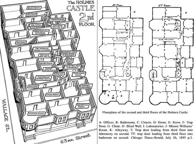 殺人狂 H・H・ホームズ 建築 殺人ホテル 見取り図 秘密 地下 拷問に関連した画像-03