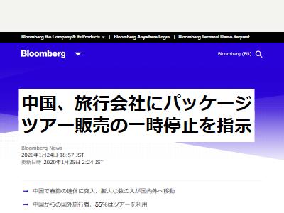 新型肺炎 中国政府 ツアー販売中止 武漢 通行禁止に関連した画像-02
