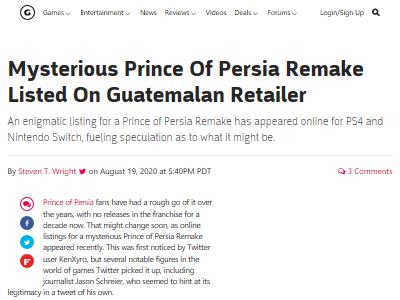 プリンス・オブ・ペルシャ リメイク グアテマラ PS4 ニンテンドースイッチに関連した画像-02