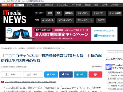ニコニコ動画 ドワンゴ ニコニコチャンネル 3億円に関連した画像-02