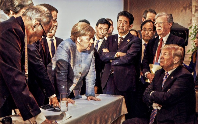 G7サミット 先進国首脳会議 写真 安倍総理 トランプ大統領 メルケル首相 ルネサンス絵画 偶発的ルネサンスに関連した画像-03