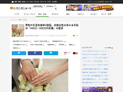 男性 生涯未婚率 2割超 未婚女性 求める 年収 400万 500万円に関連した画像-02