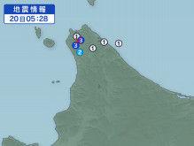 6月20日地震予想。5時28分宗谷地方北部M4.1震度3