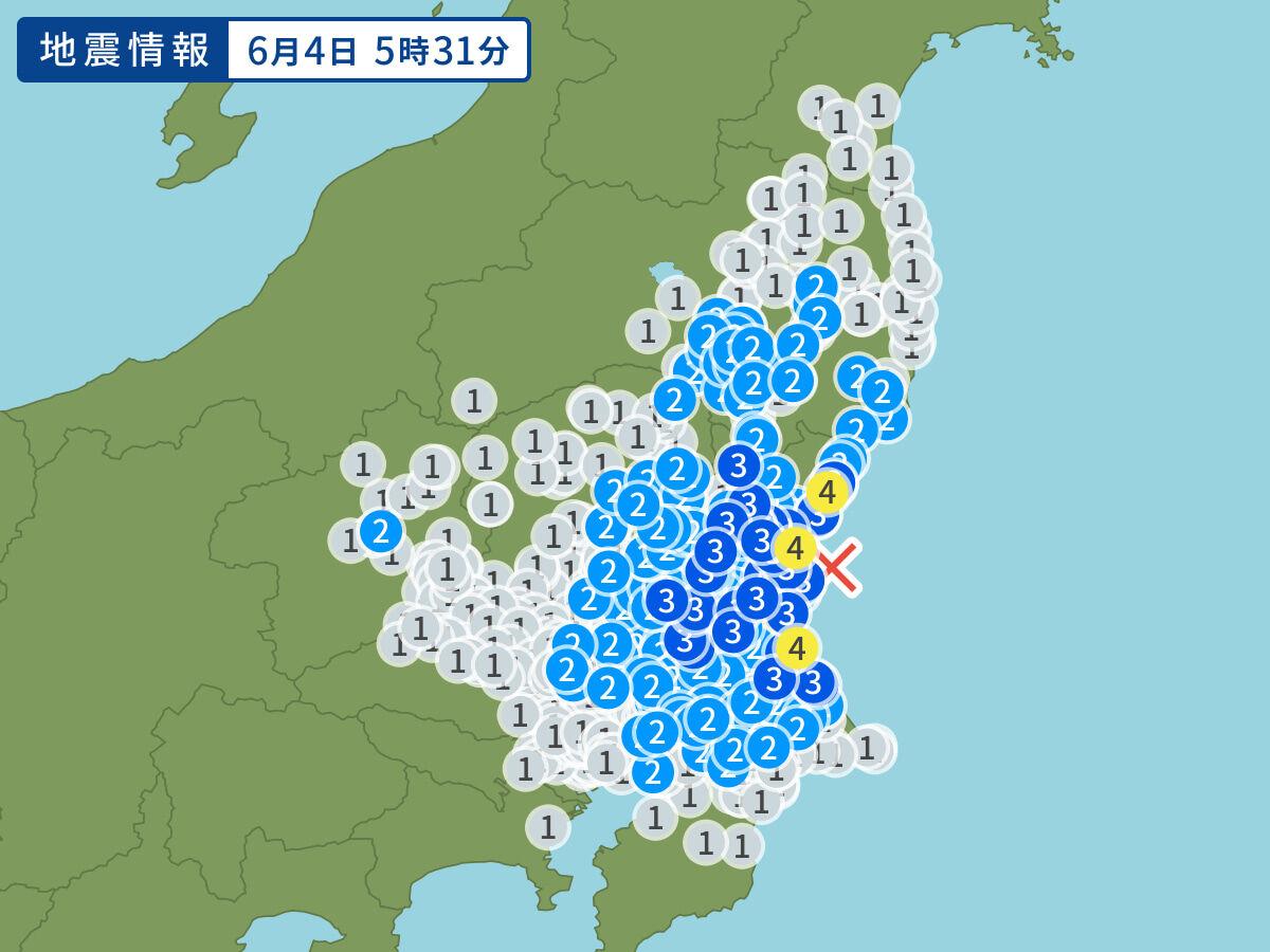 6月4日地震予想。5時31分ごろ 茨城県沖M4.7震度4