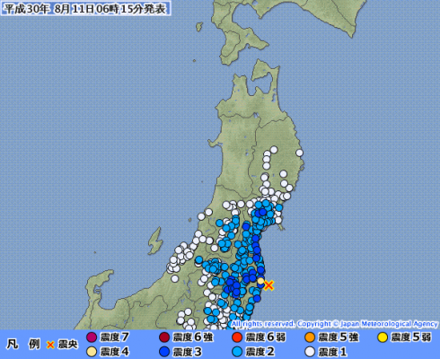 東北地方で最大震度4の地震発生 M5.1 震源地は福島県沖 深さ約20km