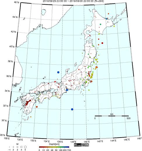 台風10号東北直撃、もう暫く地震にも警戒を。東海などで深発地震多発