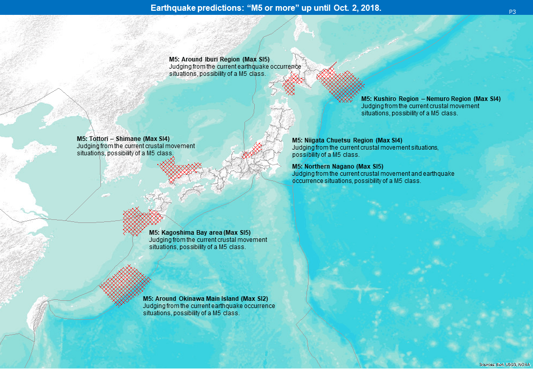 Predictions of earthquakes registering over M5, Seismic Intensity 4 : Until Sep. 25, 2018