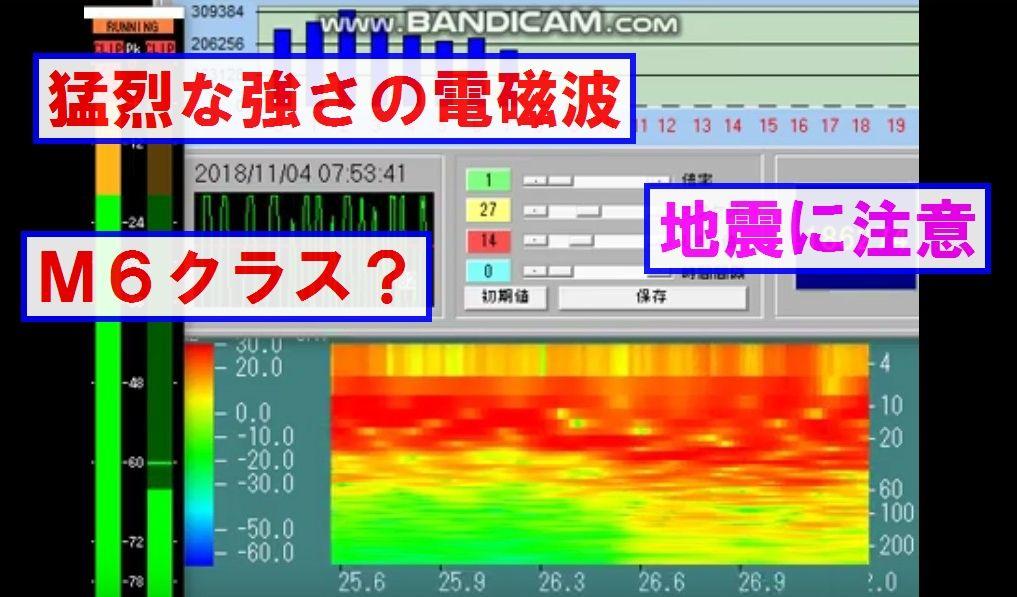 【前兆】M6超級の地震の可能性も~ELF帯電磁波の「猛烈な強さ」+百瀬の強烈な耳鳴りも