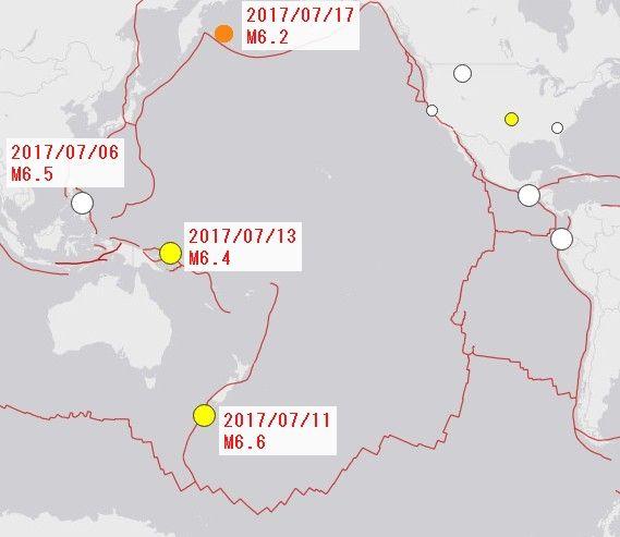 【地震】7/17カムチャツカ半島東方沖M6.2の地震~次は日本の太平洋プレート沿いか?