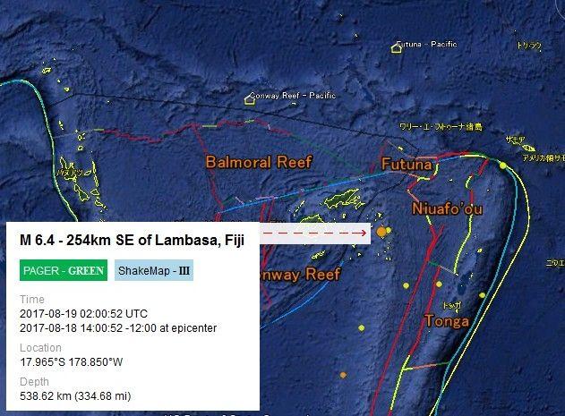 【地震】8/18 茨城県沖でM4.0、8/19 フィジー諸島でM6.4などの地震~自分の体感とハムスターの対応