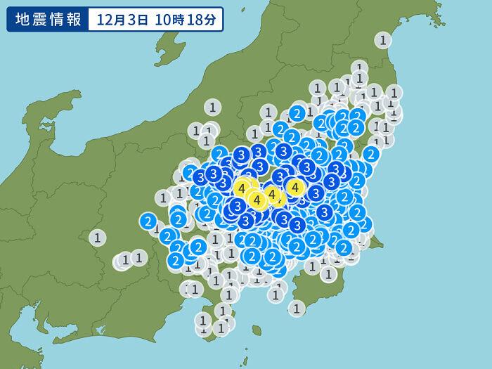 12月3日地震予想。10時18分ごろ茨城県南部M4.7震度4