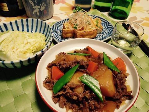今晩は肉じゃがと日本酒(≧∇≦)