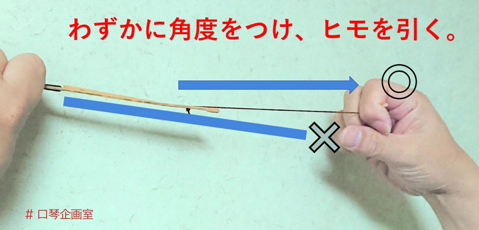 ヒモの角度