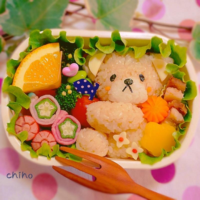 春くま弁当♡