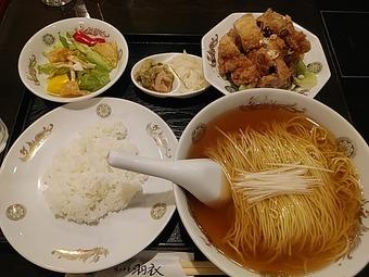 銀座 羽衣 ランチ 名物Cセット 地鶏の唐揚とあっさり麺