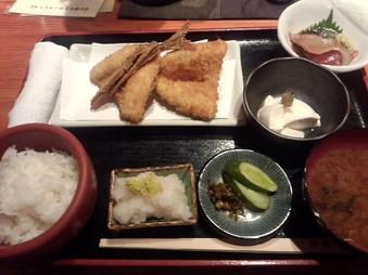 京橋 松輪 ランチ アジフライ定食
