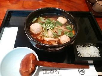 新橋 本陣房本店 ランチ鶏つくね入り けんちん蕎麦