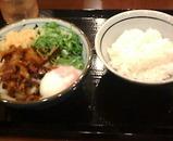 汐留 丸亀製麺 肉ごぼう温玉