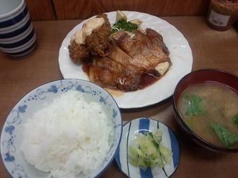 築地 小田保 ポークソテー カキフライ
