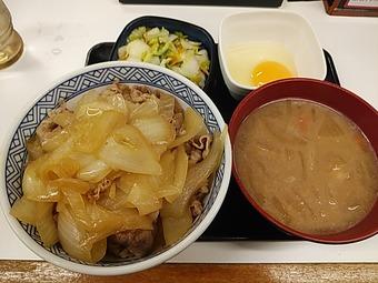 吉野家ねぎだく牛丼 Bセット 野菜たっぷり味噌汁変更 玉子