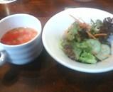 銀座 ローマイヤ 魚ランチ スープとサラダ