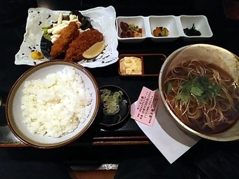 築地 蕎麦 長生庵 本日のおすすめランチ カキフライ定食