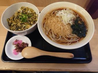 新橋かのや 高菜丼セット ワンコイン 新橋駅蕎麦