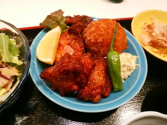 新橋 二貴 にたか ランチ カニクリームコロッケ 鶏竜田揚げ