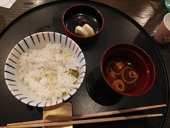 銀座の金沢 コース 山菜おこわ 赤だし 漬物