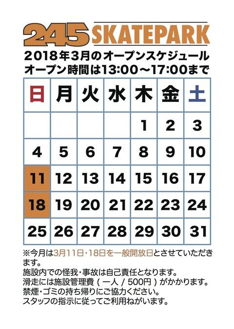 245 SKATEPARK / 2018年3月のスケジュール
