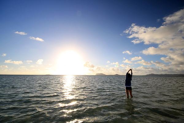 天国の海カネオヘサンドバー10年の水位 2016