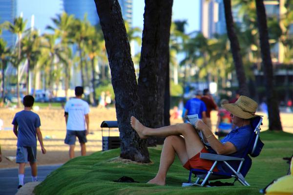 朝のワイキキビーチ散歩 ウォーキング ヨガ ワンコ 5