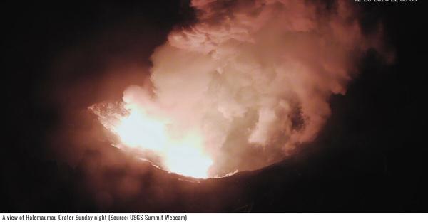 2020年12月ハワイ島キラウエア火山ハレマウマウ火口が噴火しました