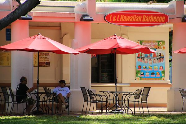 アラモアナパークのL&Lハワイアンバーベキュー 2