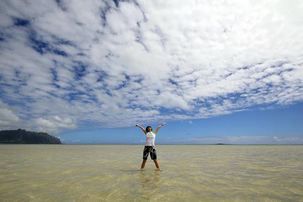 天国の海カネオヘサンドバー10年の水位 2011