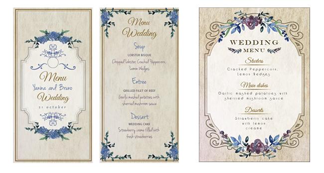 【左】昔ながらの結婚式メニュー 【右】vintag結婚式のメニューテンプレート 結婚式のMENUデザインです。右のデザインは内容を変えれば招待状 にも使えそうです。