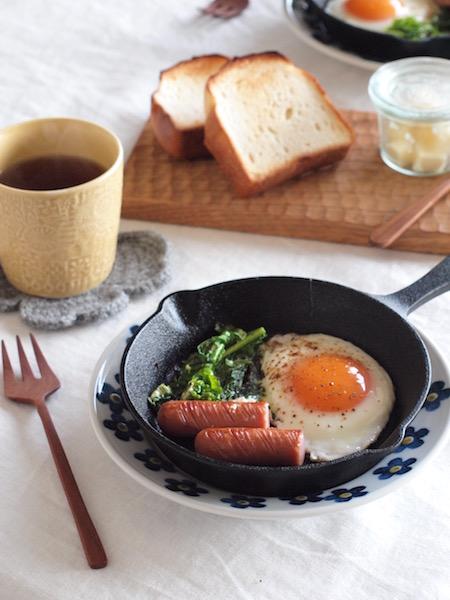 スキレット 朝食 カフェ風 フライパン